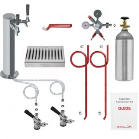 Deluxe Two Keg Tower Kegerator Conversion Kit with 100% Stainless Steel Contact-C3108-kromedispense