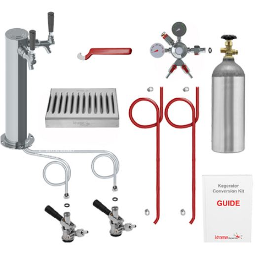 Deluxe Two Keg Tower Kegerator Conversion Kit with 100% Stainless Steel Contact C3108 kromedispense