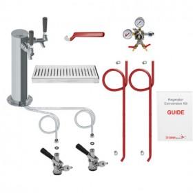 Deluxe Double Faucet Tower Kegarator Conversion Kit – No Tank-C3110-kromedispense