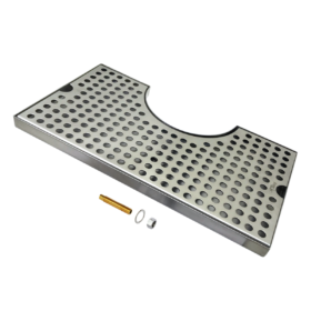 """14"""" x 8'' Cut Out Surface Mount Drip Tray - Brushed Stainless - 4"""" Column - With Drain C4015 kromedispense"""