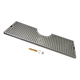 "24"" x 8"" Cut Out Surface Mount Drip Tray - Brushed Stainless - 4"" Column - With Drain C4024 kromedispense"
