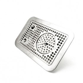 """14'' x 9"""" Flush Mount Drip Tray With Rinser - Brushed Stainless-C4033-kromedispense"""