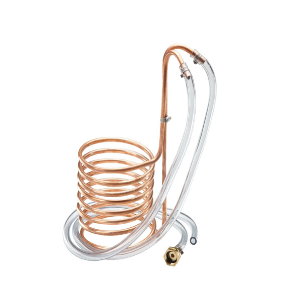 25′ Copper Wort Chiller With Garden Hose Fittings C219 Kromedispense