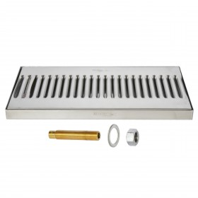 Surface Drip Tray - Brushed Stainless - With Drain-Krome