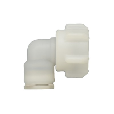 C095-Beer Elbow 3/8 Push Type Connection For PP Tubing  - Food Grade Plastic -KROME
