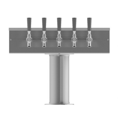 """4"""" T Tower - 5 Faucets - Brushed Stainless - Air Cooled-C1005"""