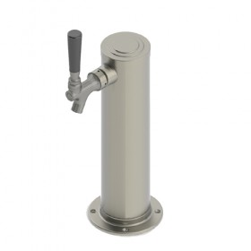 3″ Column Beer Tower – 1 Faucets with 100% SS Contact – Brushed Stainless – Air Cooled-C1031