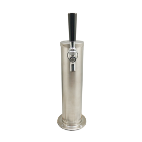 """3"""" Column Beer Tower - 1 Faucets with 100% SS Contact - Brushed Stainless - Air Cooled C1031 kromedispense"""