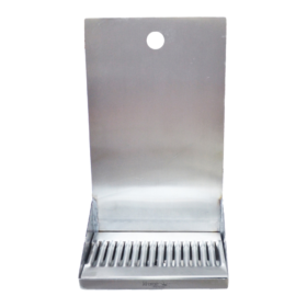 "8"" x 6"" x 14"" Shank Mounted Drip Tray - Brushed Stainless - With Drain C138 kromedispense"