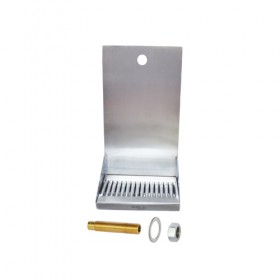 c138-8 x 6 Shank Mounted Drip Tray - Brushed Stainless - With Drain-Krome