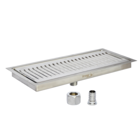 """12"""" x 5"""" Flush Mounted Drip Tray - Brushed Stainless - With Drain C139 Kromedispense"""