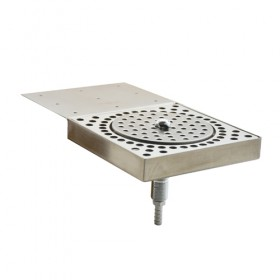 c360_11-38 x 6-38 Glass Rinser Drip Tray -Brushed Stainless - With Drain_KROME