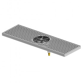 "C4003 - 24"" x 7"" Centre Spray Glass Rinser Drip Tray - Brushed Stainless - With Drain - Krome"