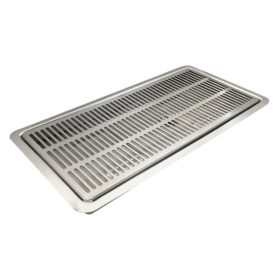 16″ x 7″ Flush Mount Drip Tray – Brushed Stainless – With Drain C4007 Kromedispense