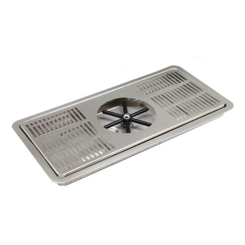 """16"""" x 7"""" Center Spray Pitcher Rinser Drip Tray - Brushed Stainless - With Drain C4008 kromedispense"""