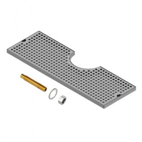 "Cut Out Surface Mount Drip Tray - Brushed Stainless - 4"" Column - With Drain - Krome"