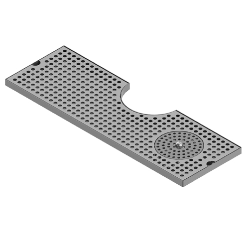 "24""x 8'' Cut Out Surface Mount Drip Tray With Rinser - Brushed Stainless C4025 kromedispense"