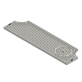 "34"" x 8"" Surface Mount Drip Tray With Rinser - Brushed Finish - Two Side Cut-Out C4034 Kromedispense"