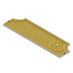 "34"" x 8"" Surface Mount Drip Tray With Rinser - Vibrant Gold Finish - Two Side Cut-Out C4035 Kromedispense"