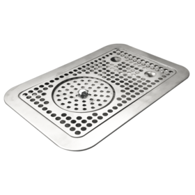 """14"""" x 9″ Flush Mount Drip Tray With Rinser – Brushed Stainless C4033 Kromedispense"""