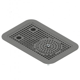"C4033 - 14'' x 9"" Flush Mount Drip Tray With Rinser - Krome"