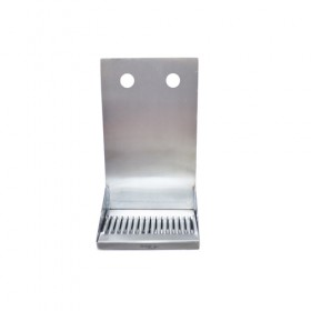 "C4082-8"" x 6"" x 14"" Shank Mounted Drip Tray - Brushed Stainless - With Drain - 2 Faucets-KROME"