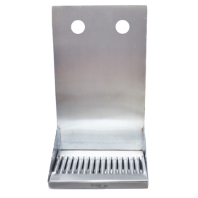 "8"" x 6"" x 14"" Shank Mounted Drip Tray - Brushed Stainless - With Drain - 2 Faucets C4082 kromedispense"