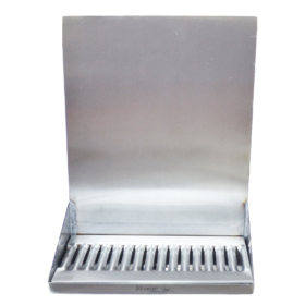 "12"" x 6"" x 14"" Shank Mounted Drip Tray - Brushed Stainless - With Drain - Without Faucet C4120 kromedispense"
