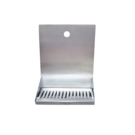 "C4121-12"" x 6"" x 14"" Shank Mounted Drip Tray - Brushed Stainless - With Drain - 1 Faucet-KROME"