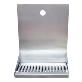 "12"" x 6"" x 14"" Shank Mounted Drip Tray - Brushed Stainless - With Drain - 1 Faucet C4121 kromedispense"