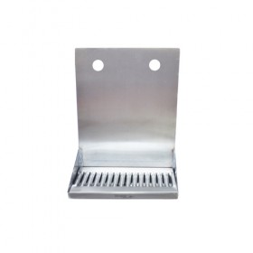 "C4122-12"" x 6"" x 14"" Shank Mounted Drip Tray - Brushed Stainless - With Drain - 2 Faucets-KROME"