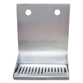 "12"" x 6"" x 14"" Shank Mounted Drip Tray - Brushed Stainless - With Drain - 2 Faucets C4122 kromedispense"
