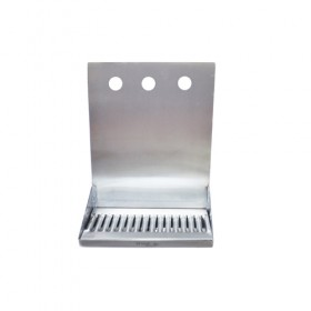 "C4123-12"" x 6"" x 14"" Shank Mounted Drip Tray - Brushed Stainless - With Drain - 3 Faucets-KROME"