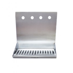 "C4164-16"" x 6"" x 14"" Shank Mounted Drip Tray - Brushed Stainless - With Drain - 4 Faucets-KROME"