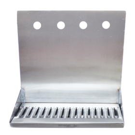 "16"" x 6"" x 14"" Shank Mounted Drip Tray - Brushed Stainless - With Drain - 4 Faucet C4164 kromedispenses"