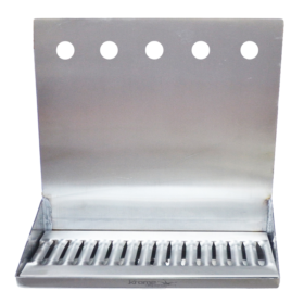 "16"" x 6"" x 14"" Shank Mounted Drip Tray - Brushed Stainless - With Drain - 5 Faucets C4165 kromedispense"