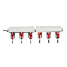 c430-6 Way Gas Distributor – No PRV-Krome