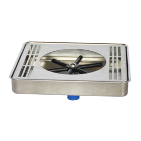 """8"""" x 8"""" Center Spray Glass Rinser Drip Tray - Brushed Stainless - With Drain C464 kromedipense"""