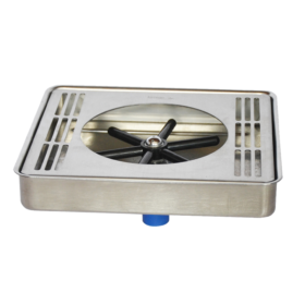 """10"""" x 7"""" Center Spray Glass Rinser Drip Tray - Brushed Stainless - With Drain C465 kromedispense"""