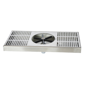 """15"""" x 7"""" Center Spray Glass Rinser Drip Tray - Brushed Stainless - With Drain C466 kromedispense"""