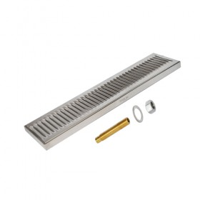 c616-20 x 5 Surface Drip Tray - Brushed Stainless - With Drain-Krome
