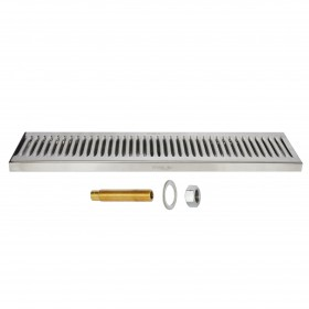 c620-Surface Drip Tray - Brushed Stainless - With Drain-Krome
