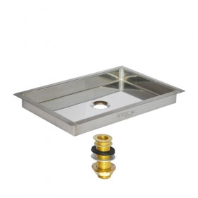 c622-9 x 6 Flanged Mount Drip Tray - Brushed Stainless - With Brass Drain-Krome