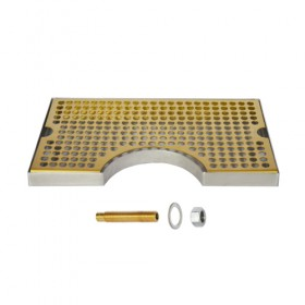 c634-12 x 7 Cut Out Surface Mount Drip Tray - Vibrant Gold Finish - With Drain-Krome
