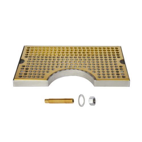 """12"""" x 7"""" Cut Out Surface Mount Drip Tray - Vibrant Gold Finish - With Drain C634 kromedispense"""