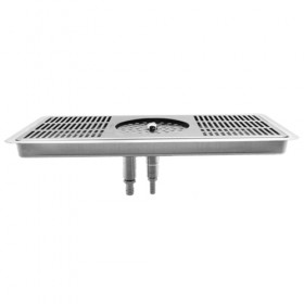 "C848 - 16"" x 7"" Glass Rinser Drip Tray - Brushed Stainless - With Drain  - Krome"