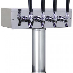 """3"""" T Tower - 4 Faucets with 100% SS Contact - SS Polished - Air Cooled-C1510"""